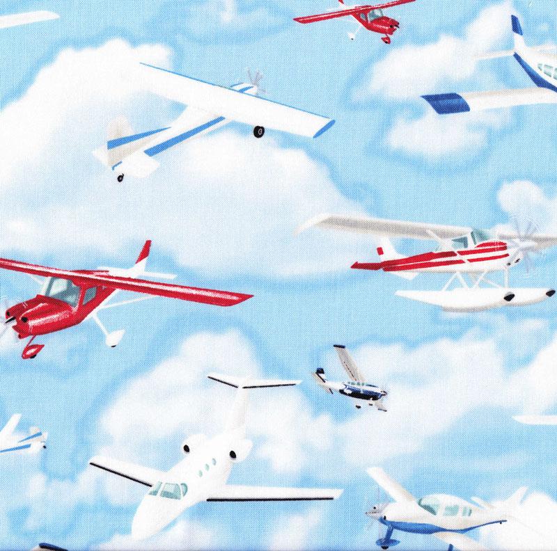 Light cessna airplanes blue sky aeroplanes aircraft boys for Childrens airplane fabric