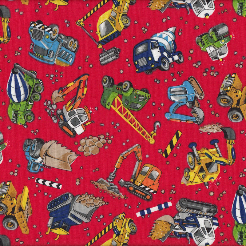 Construction bulldozer cement dump truck digger red quilt for Monster themed fabric
