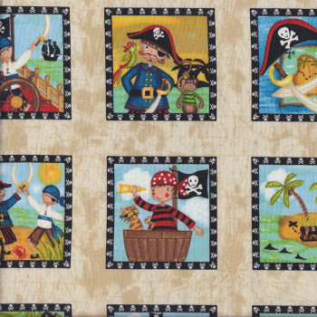 Pirates in squares skulls boys kids quilting fabric find for Kids pirate fabric