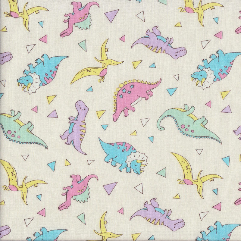 Dinosaurs pink yellow blue purple on white girls quilting for Purple dinosaur fabric