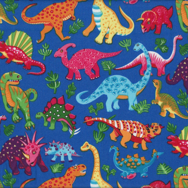Dinosaurs royal blue kids boys childrens animals quilt for Kids dinosaur fabric