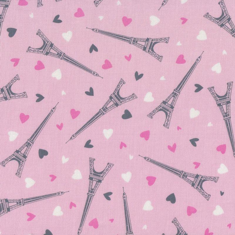 As Creation Pink Paris Pattern Eiffel Tower Childrens: Eiffel Towers On Pink Love Hearts Paris Quilting Fabric