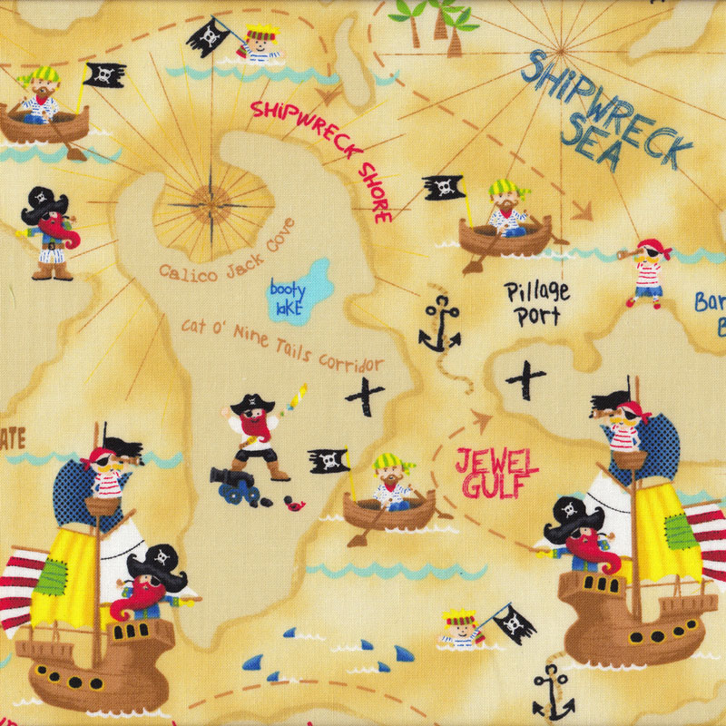 Pirates map island ships skulls sea boys kids quilt fabric for Kids pirate fabric