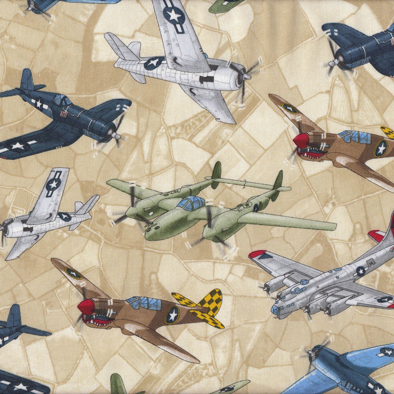 World war ii fighter planes aeroplanes beige boys kids for Childrens airplane fabric
