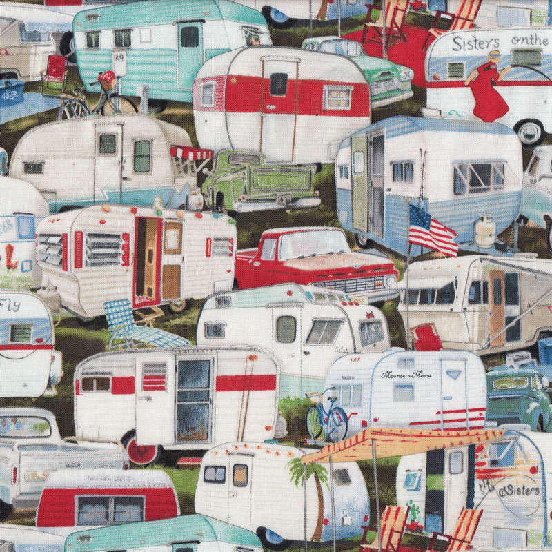 Retro Caravans Quilt Fabric Find A Fabric