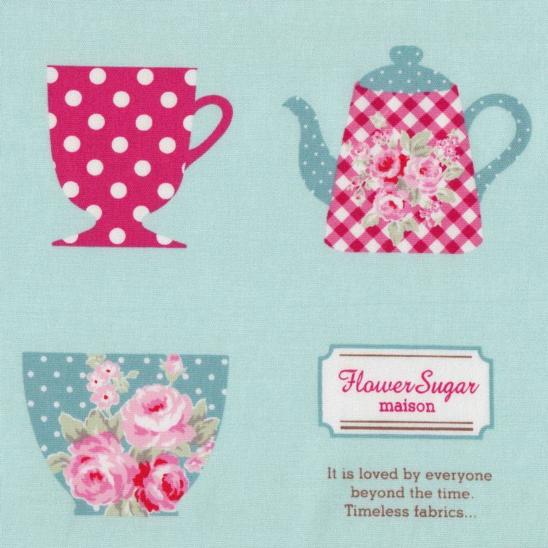 Teacups and teapots on aqua green tea flower sugar maison for Au maison fabric