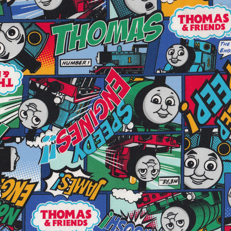 Thomas and friends engine blue green boys kids trains for Kids train fabric