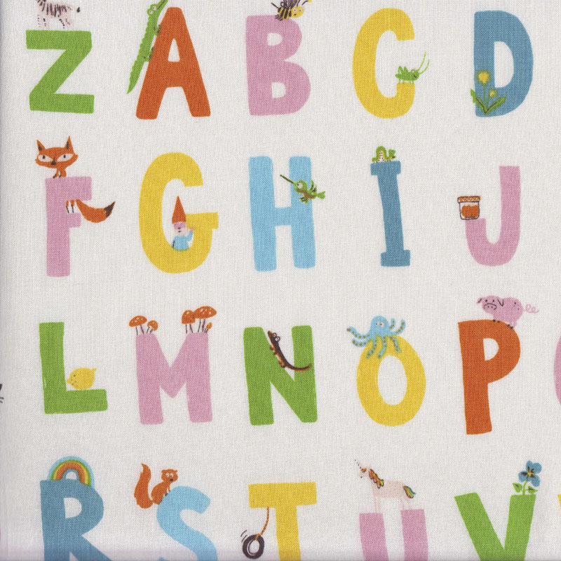 Details about ABC Letters Alphabet on Cream Kinder Kids Quilting Fabric FQ  or Metre *New*