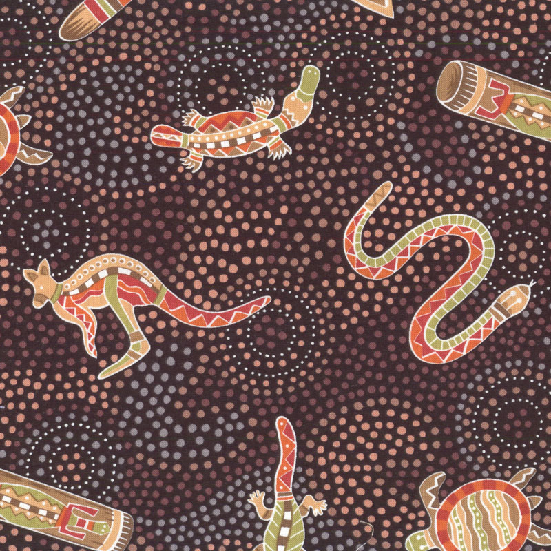 Australian Aboriginal Gooloo On Black Quilt Fabric Find
