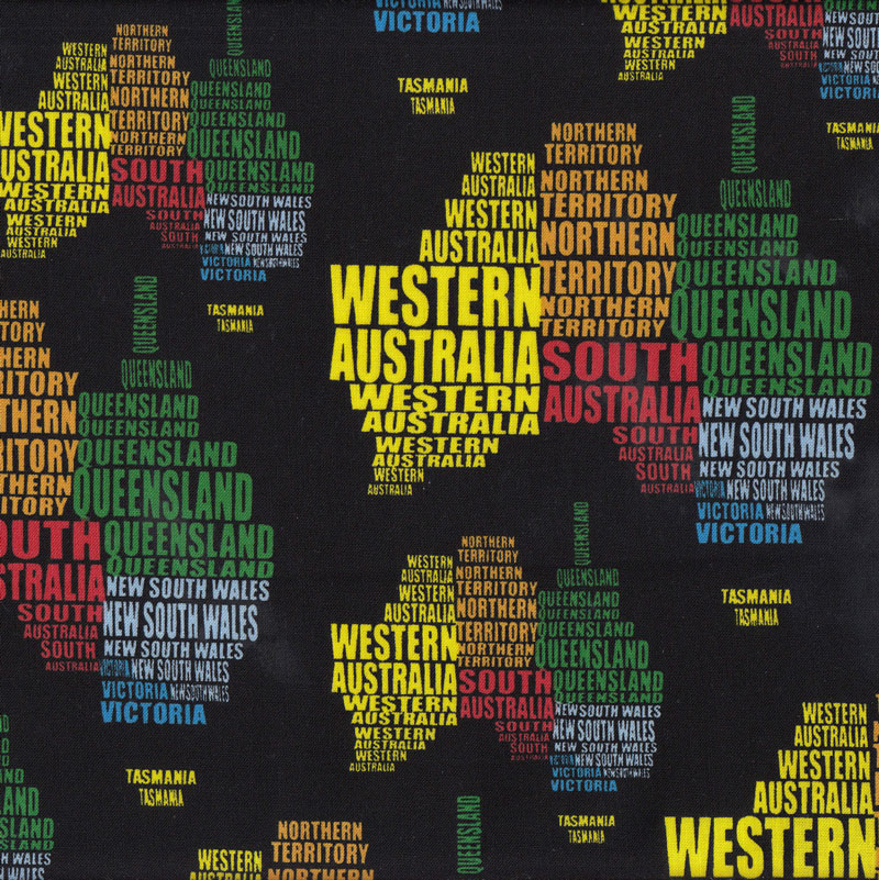 States of australia on black map quilt fabric find a fabric sciox Gallery