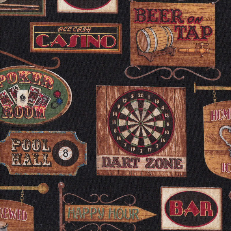 Bar Room Signs Man Cave Cards Darts Mens On Black Quilt