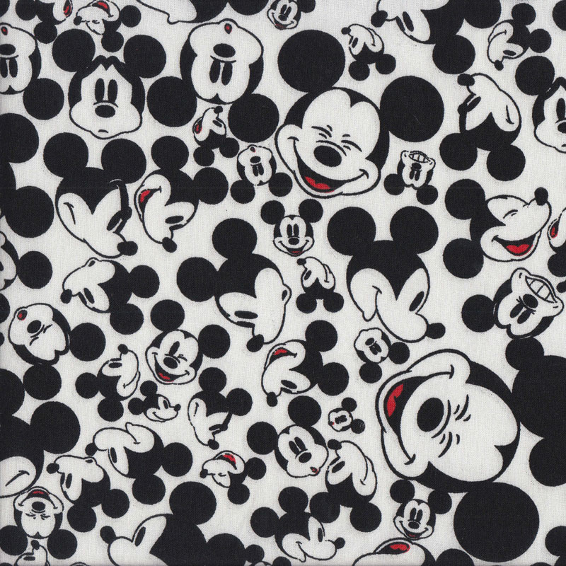 Black and white smiling mickey mouse on white kids for Black and white childrens fabric