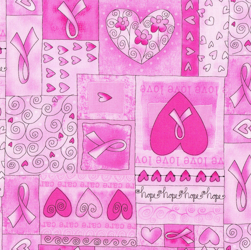 Breast cancer pink ribbon fabric