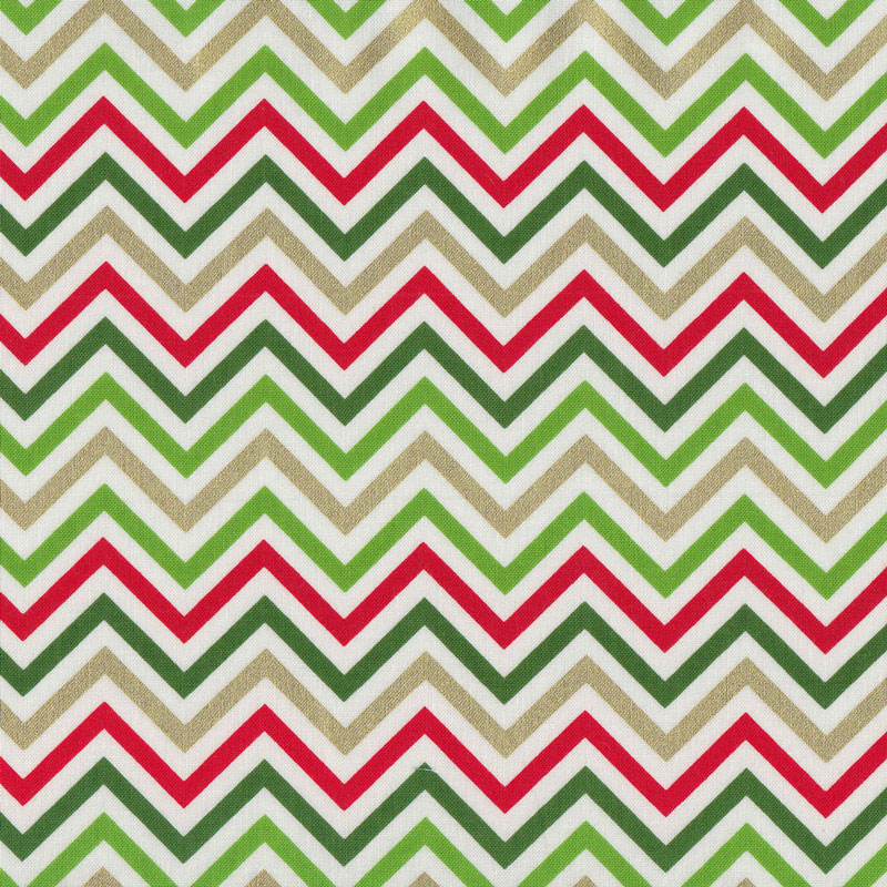 Christmas Chevron on White Metallic Gold Red Green Quilting Fabric ...
