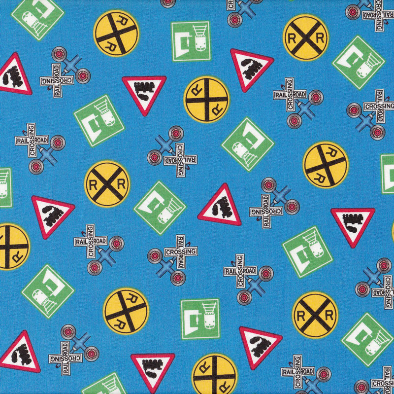 Train railway signs choo choo you blue boys quilt fabric for Train themed fabric