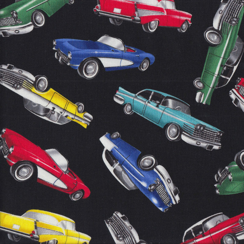 Classic Retro Muscle Cars Chevrolet Mustang Mens Quilting Fabric