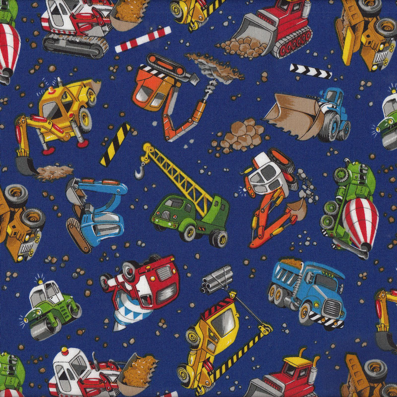 Construction bulldozer cement dump truck excavator digger for Boy quilt fabric
