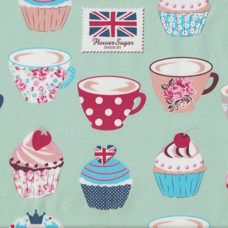 Cupcakes on aqua green teacups union jack cherries flower for Au maison fabric