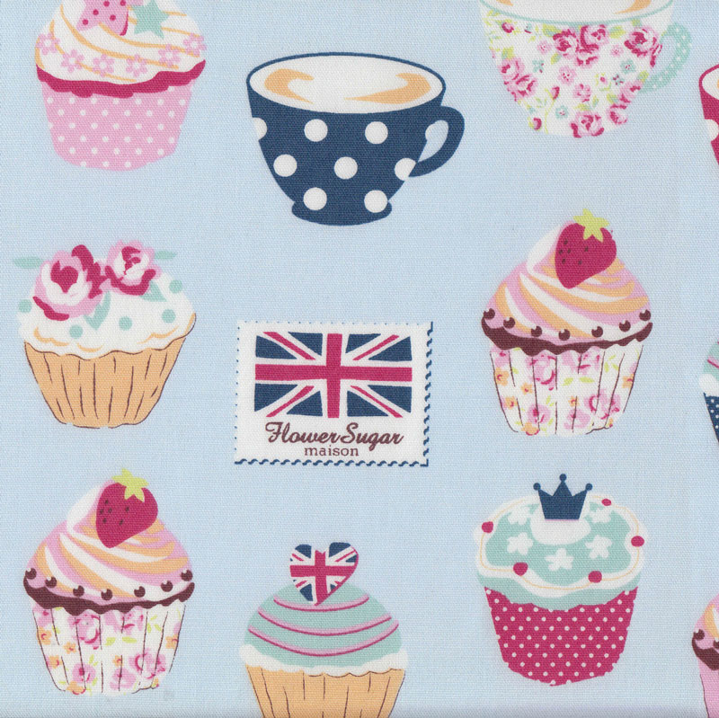 Cupcakes on blue teacups union jack cherries flower sugar for Au maison fabric
