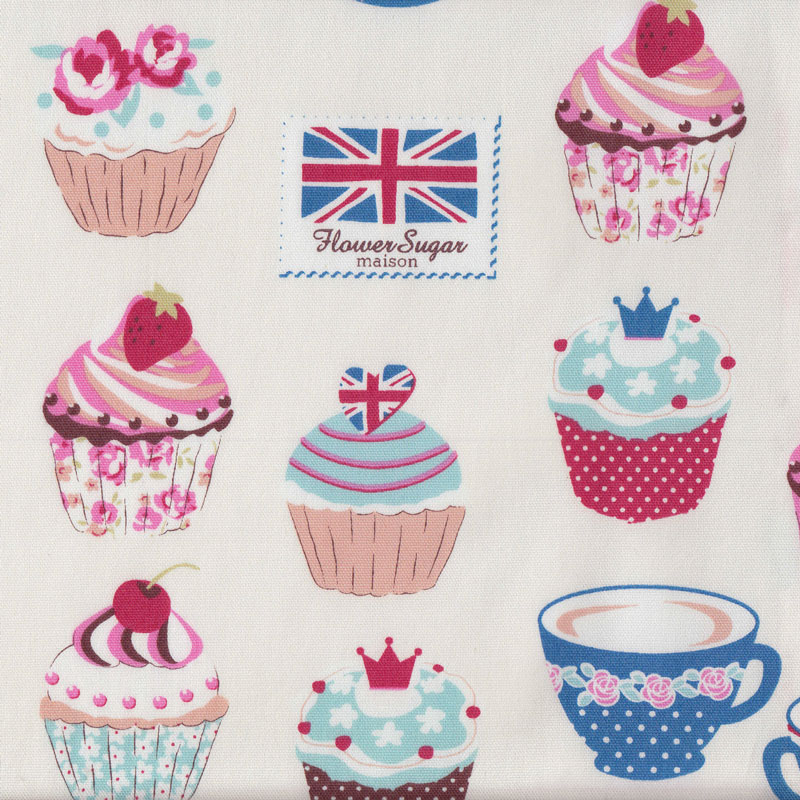 Cupcakes on cream teacups union jack cherries flower sugar for Au maison fabric