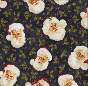 Santa Faces Berries Quilting Fabric