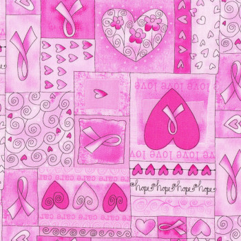 Pink Ribbon Breast Cancer Love Hearts Quilt Fabric Find A