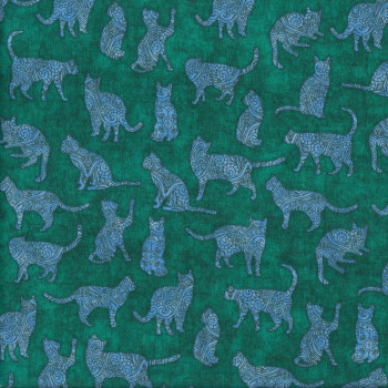 Cats on Green Purr Suasion Quilting Fabric