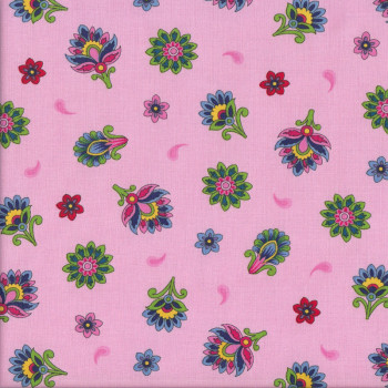 Flowers on Pink Imperial Paisley Floral Quilting Fabric