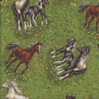 Horses Foals on Grass Countryside Quilting Fabric