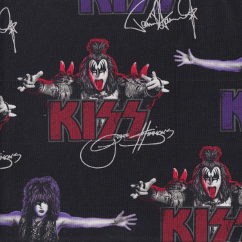 Kiss Rock n Roll Band on Black Gene Quilting Fabric