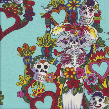 Skulls Skeletons Tree of Life on Aqua Quilting Fabric