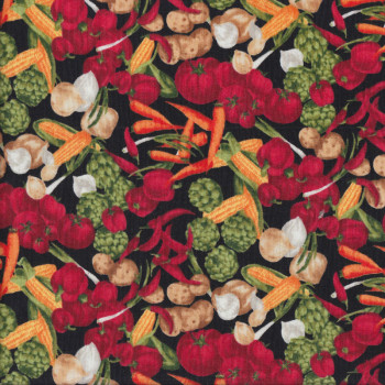 Vegetables on Black Quilting Fabric