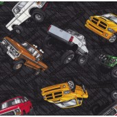 4 x 4 Pickup Trucks on Black Boys Mens Quilt Fabric