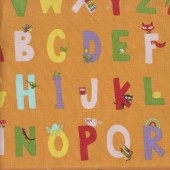 Alphabet on Orange Kinder Kids Quilting Fabric