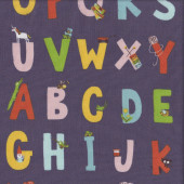 Alphabet on Eggplant Purple Kinder Kids Quilting Fabric