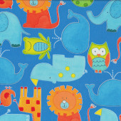 Animals on Blue Lion Hippo Whale ABC Safari Kids Quilt Fabric