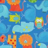 ABC Safari Animals Blue Quilting Fabric Remnant 41cm x 112cm