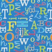 Alphabet Letters on Blue ABC Safari Kids Quilt Fabric