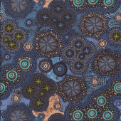 Australian Aboriginal Walkabout Milky Way Circles Blue Quilting Fabric