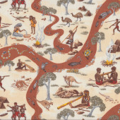 Australian Aboriginal Mullawa on Bush Food Quilting fabric