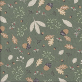 Autumn Forest Acorns Leaves on Green At a Campsite Quilting Fabric