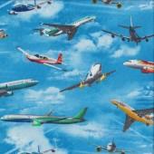 Aeroplanes Passenger Planes Aircraft Jets Quilting Fabric