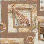 African Animals in Squares Tiger Elephant Giraffe Quilting Fabric