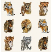 African Big Cats Tiger Lion Leopard Cheetah Quilt Fabric Panel
