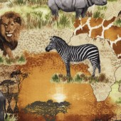 African Safari Animals Quilting Fabric