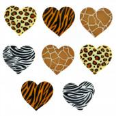 African Tiger Leopard Giraffe Zebra Loveheart Shank Craft Buttons