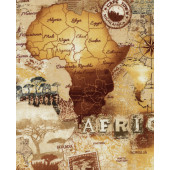 African Safari Map Compass Quilting Fabric