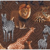 African Animals Lion Giraffe Zebra Leopard on Brown Quilt Fabric
