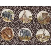 Lions Giraffe Zebras Rhinos African Animals Circles Quilt Fabric