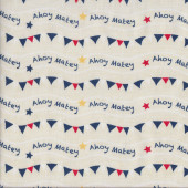 Bunting Flags and Stars on Cream Ahoy Matey Quilting Fabric